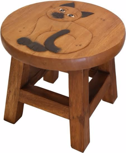 Children S Wooden Step Or Stool Cat Design Personalised